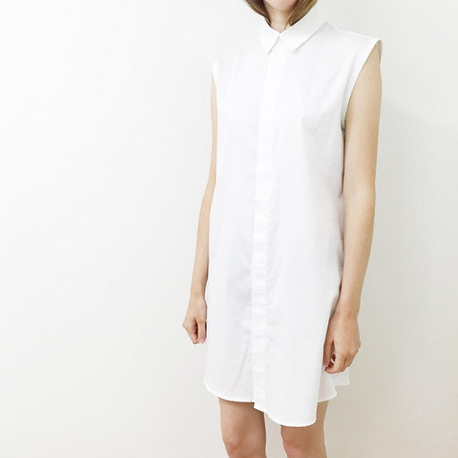 Sleeveless Button Down Shirt Dress