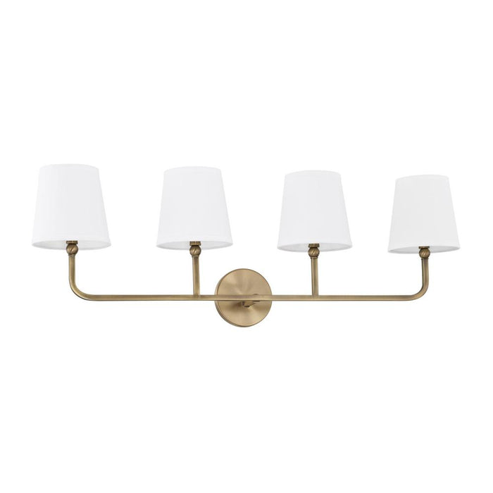 an image of Capital Lighting Dawson 4 Light Vanity in Aged Brass