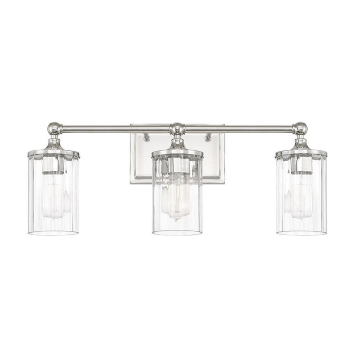 an image of Capital Lighting Camden 3 Light Sconce in Polished Nickel