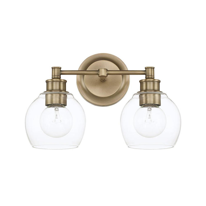 an image of Capital Lighting Mid Century 2 Light Vanity in Aged Brass