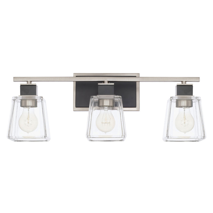 an image of Capital Lighting Tux 3 Light Vanity Fixture in Black Tie