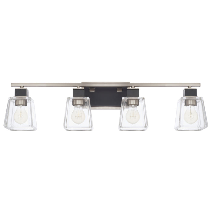 an image of Capital Lighting Tux 4 Light Vanity Fixture in Black Tie