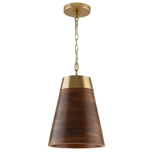 an image of Capital Lighting 1 Light Pendant in Wood and Brass