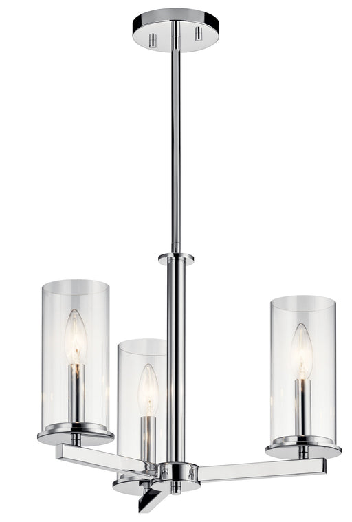 "an image of Kichler Crosby 3 Light Convertible Chandelier/Semi-Flush Mount, 18"" Wide in Chrome"