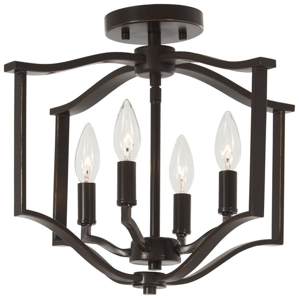 Minka-Lavery 4656-579 Elyton 4 Light Semi Flush, Downton Bronze With Gold