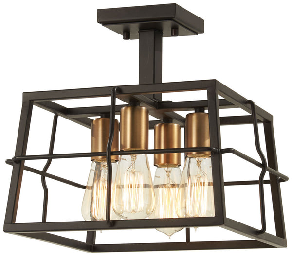 Minka-Lavery 4769-416 Keeley Calle Semi Flush, Painted Bronze W/Natural Brush