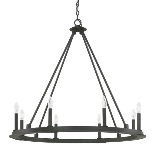 an image of Capital Lighting Pearson 8 Light Chandelier in Black Iron