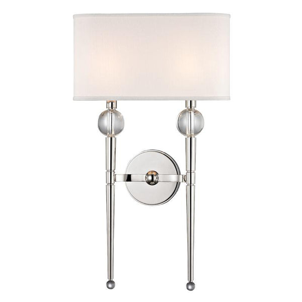 Hudson Valley 8422-PN Rockland 2 Light Wall Sconce, Polished Nickel