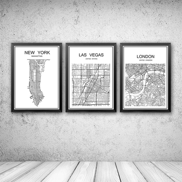 World famous City map Abstract poster art kraft paper Cafe bar poster Retro sketch art decor painting wall sticker 42x30cm