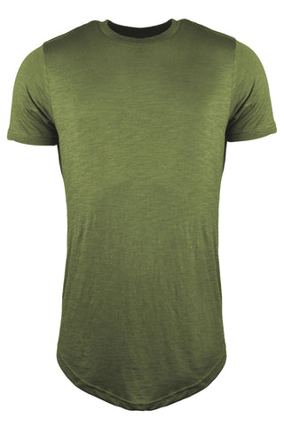 Plain Longline Curved Hem T-Shirt