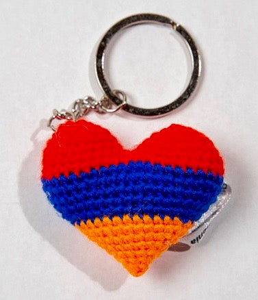 Armenian Flag Heart Key Tag