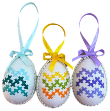 Embroidered Egg-Shaped Ornament Sets