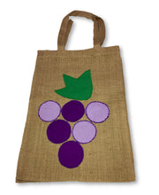 "Reusable Burlap Tote Bag ""Grape"""