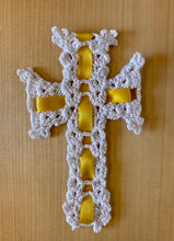 Crocheted Armenian Cross with Gold Ribbon