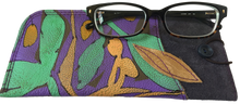 "Leather Eyeglass Case ""Autumn"" with Leaf Applique"