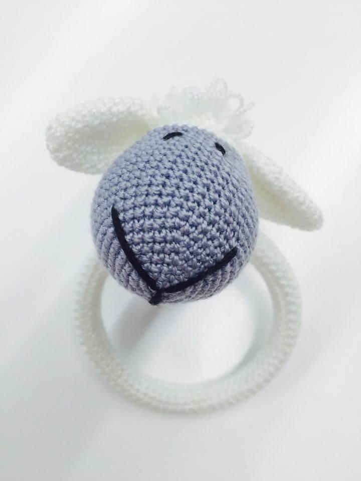 Crochet Sheep Ring Rattle