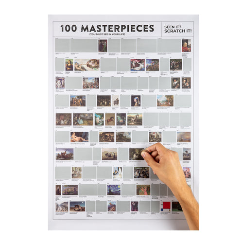 100 Masterpieces Scratch Poster