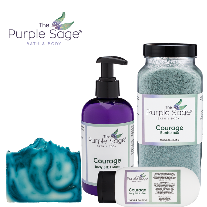Courage Collection Lotion, Bar Soap, Bubbleaux The Purple Sage