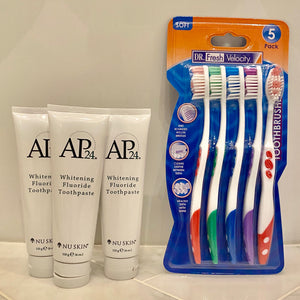 3 Whitening Toothpaste - 5 FREE Toothbrushes