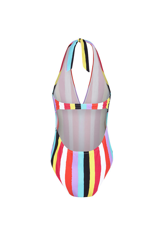 New Stripes Halter Neck Printed Swimsuit