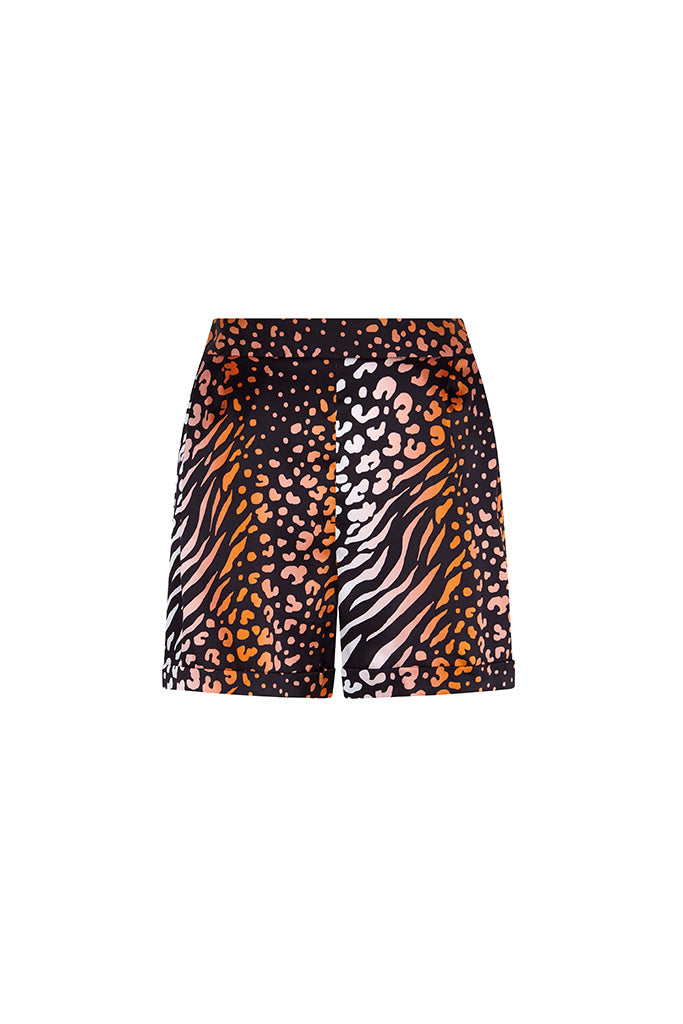 Coral Leopard Silk Satin Printed Shorts