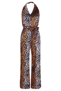 Coral Leopard Silk Satin Printed Jumpsuit