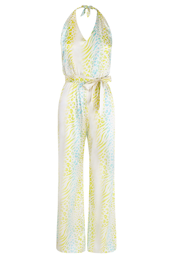 Turquoise Leopard Silk Satin Printed Jumpsuit