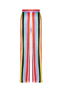 New Stripes Silk Satin Printed Beach Flares