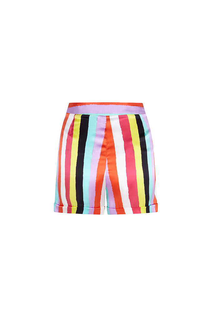 New Stripes Silk Satin Printed Shorts