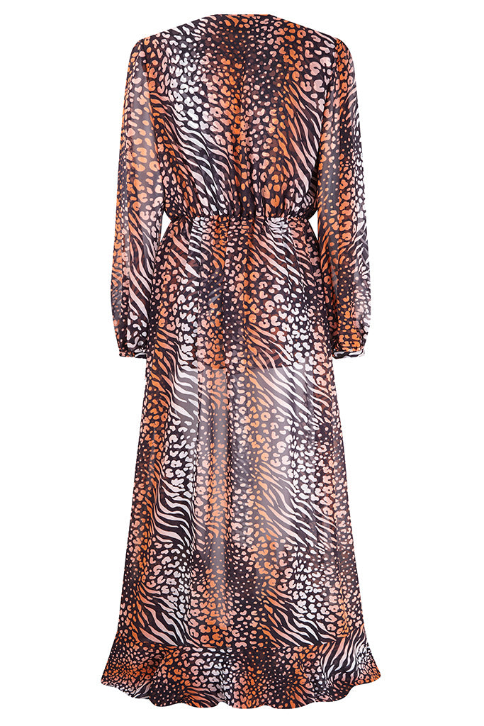 Coral Leopard Silk Chiffon Leopard Wrap Dress