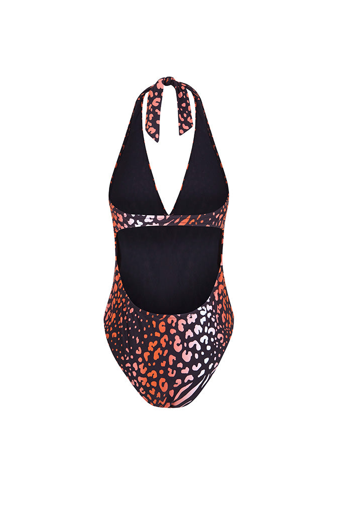 Coral Leopard Halter Neck Printed Swimsuit