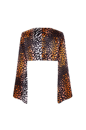 Coral Leopard Silk Satin Wrap Top