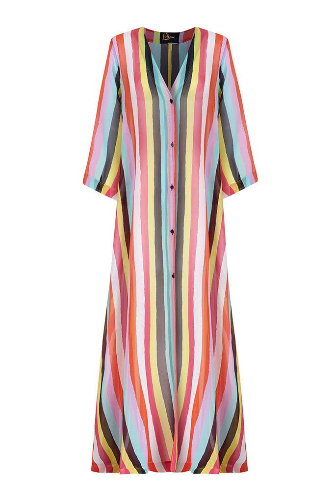 New Stripes Silk Chiffon Long A-line Kaftan