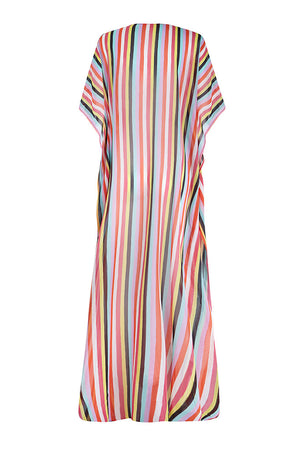 New Stripes Silk Chiffon Long Kaftan