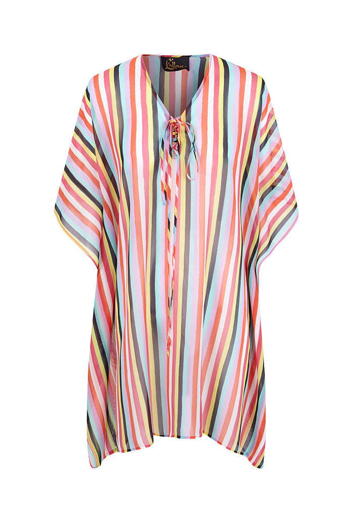 New Stripes Silk Chiffon Kaftan