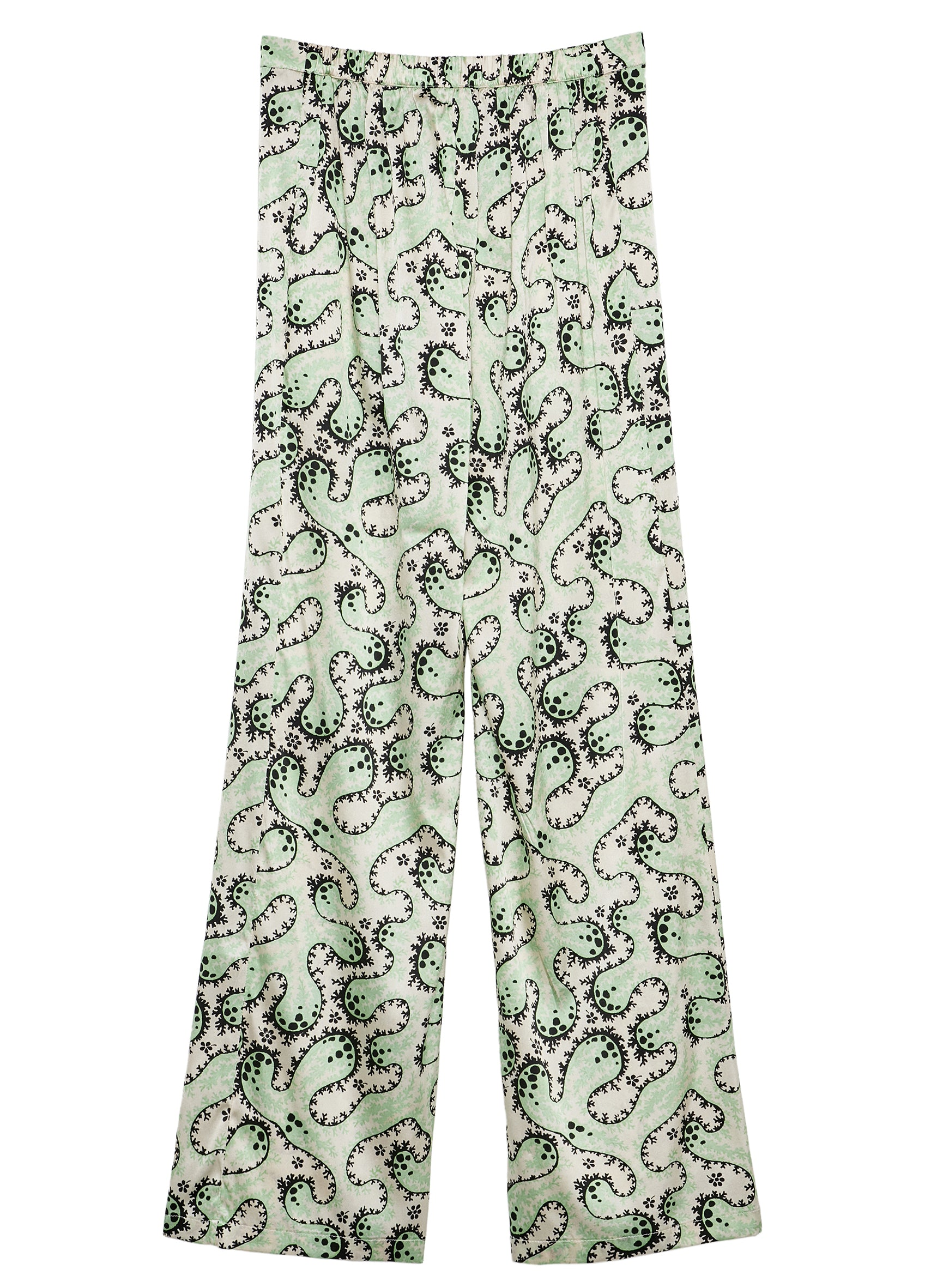 Mint Coral Silk Satin Printed Beach Flares