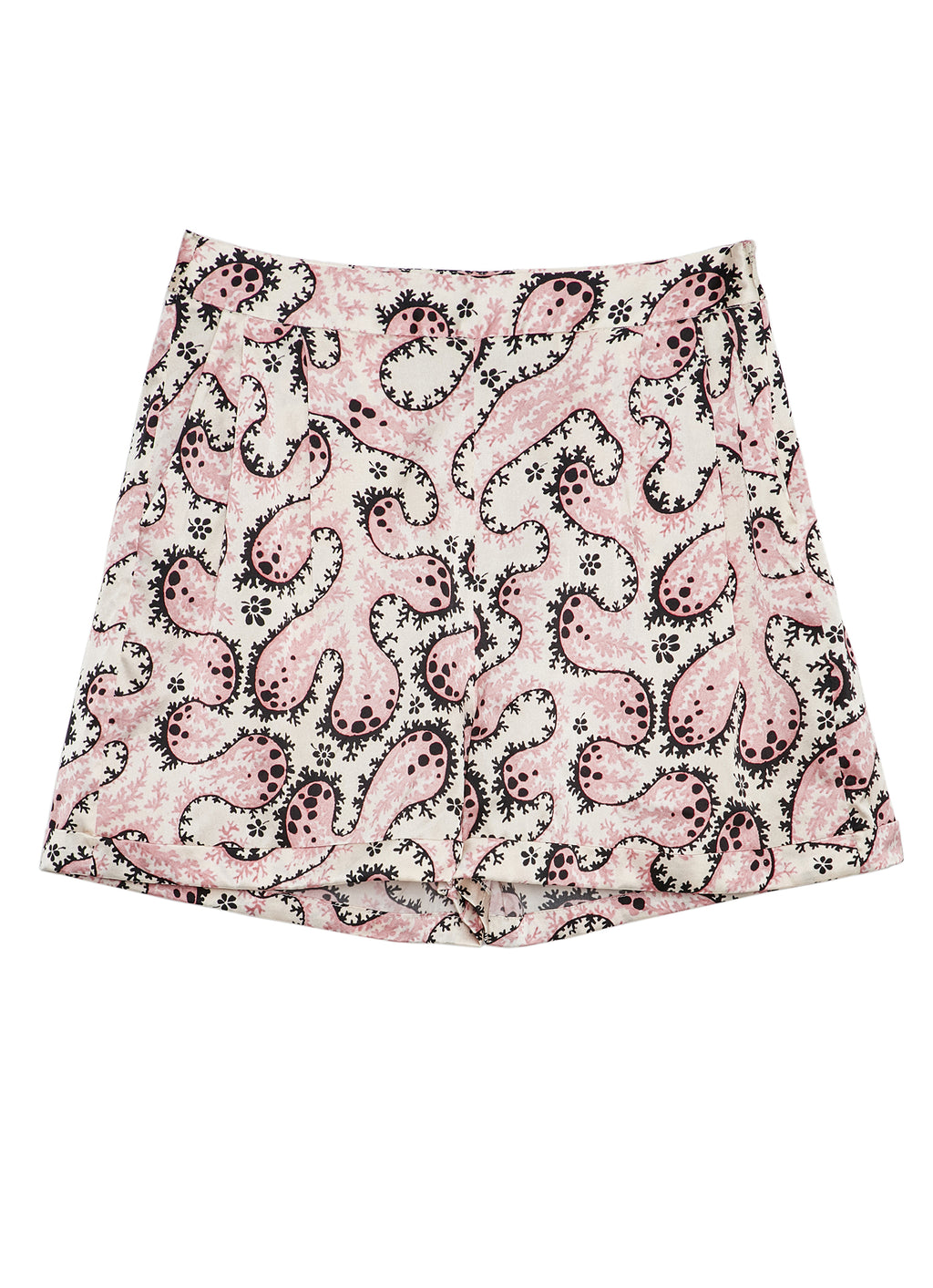 Blush Coral Silk Satin Printed Shorts