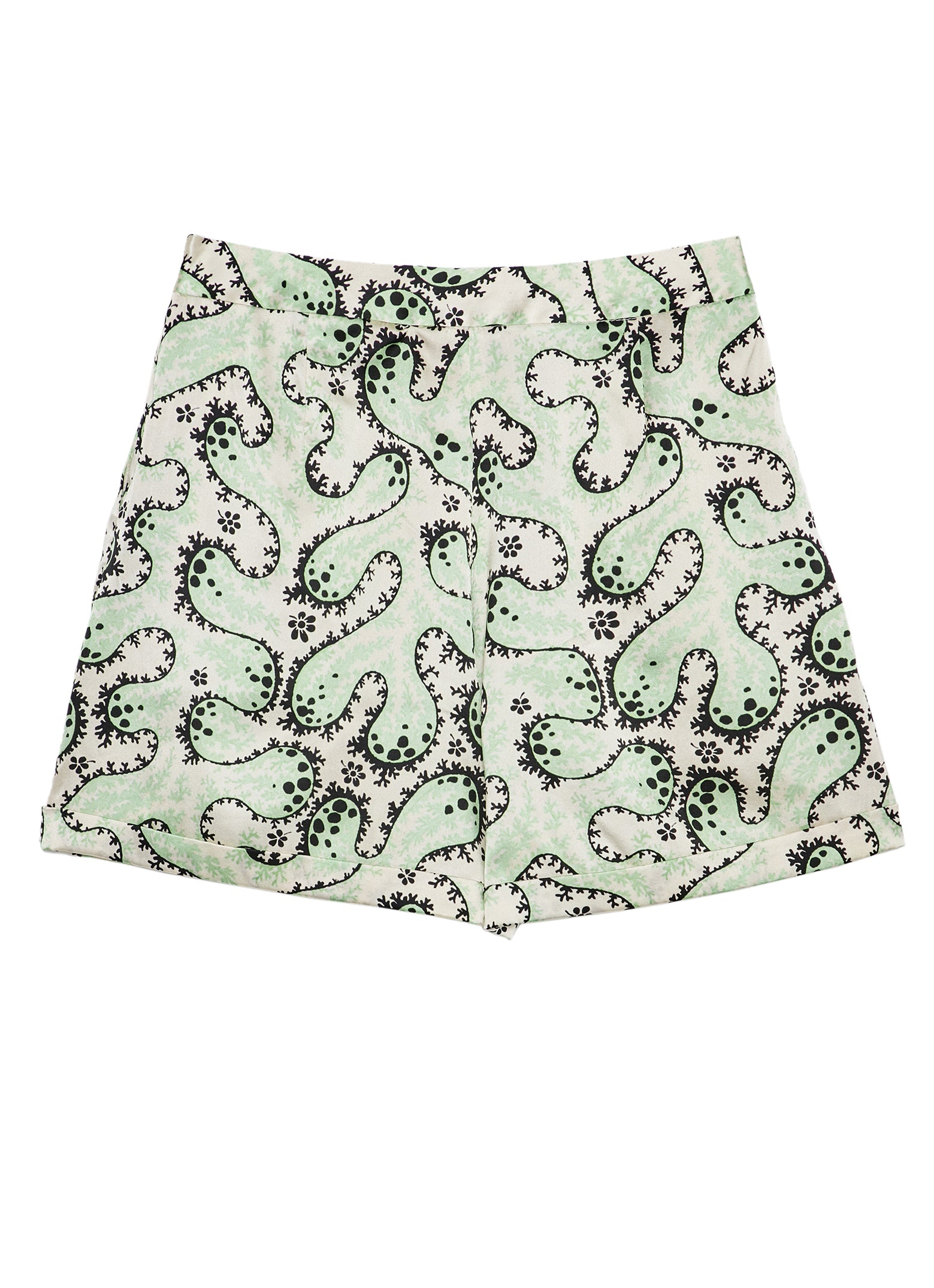 Mint Coral Silk Satin Printed Shorts