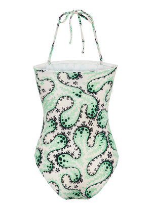 Mint Coral Strapless Printed Swimsuit