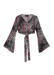 Pink Leopard Silk Satin Wrap Top