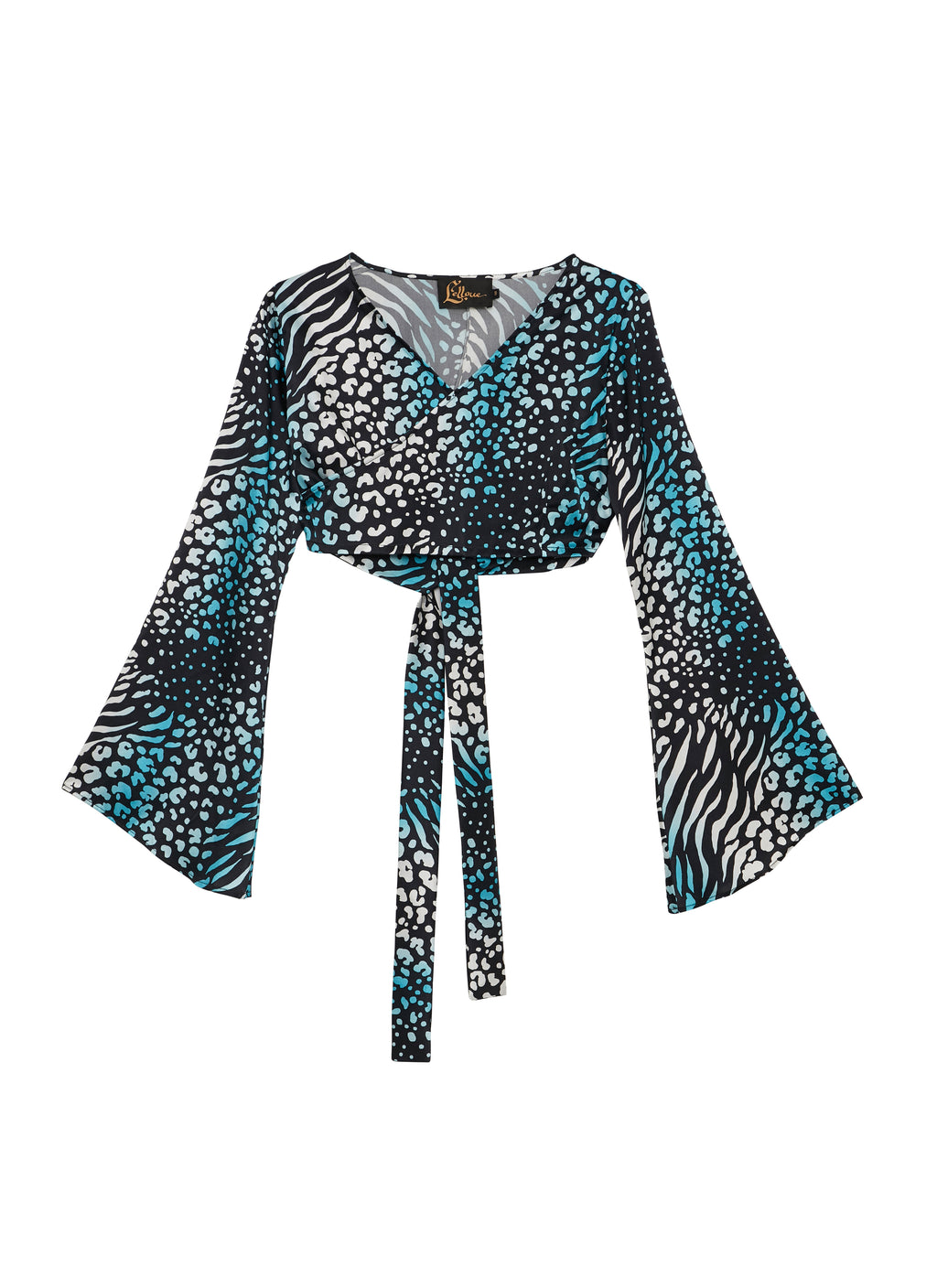 Blue Leopard Silk Satin Wrap Top