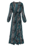 Blue Leopard Silk Chiffon Wrap Dress