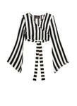 Black And White Stripes Wrap Top