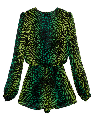 Palm Leopard Puff Sleeve Playsuit