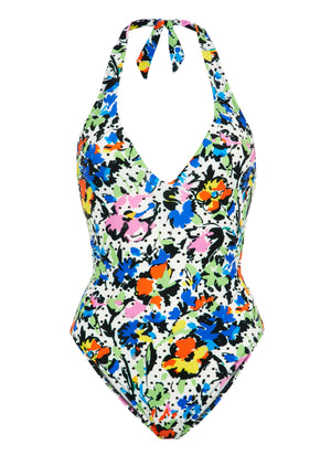 Polka Flower V Neck Tie Back Swimsuit