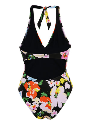 Flower Bomb V Neck Tie Back Swimsuit