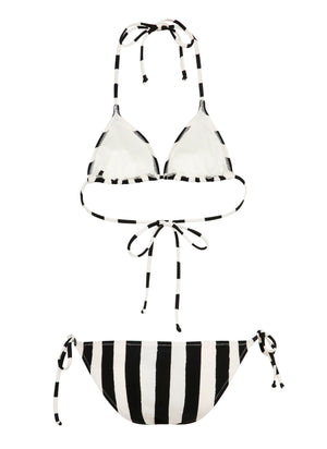Black & White Stripes Triangle Bikini