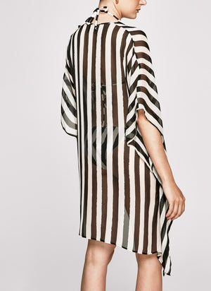 Black & White Stripes Short Moroccan Kaftan