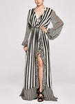 BW STRIPES Ruffle Gown