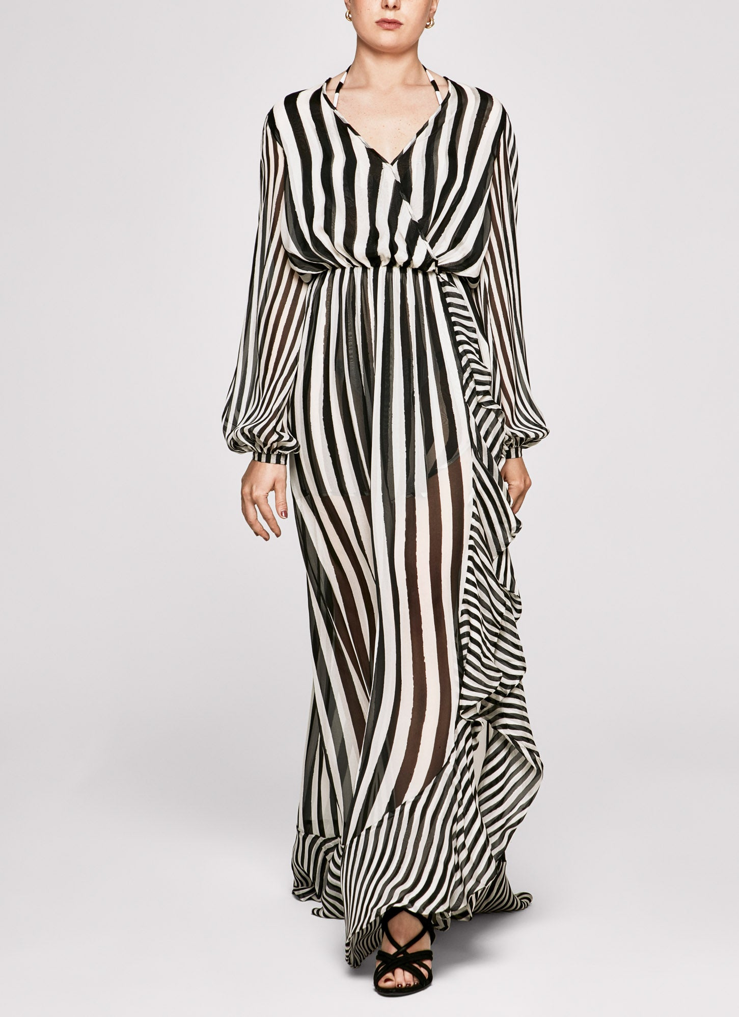 Black & white Stripes Ruffle Gown